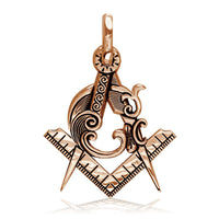 Large Masonic Charm in 14k Pink Gold
