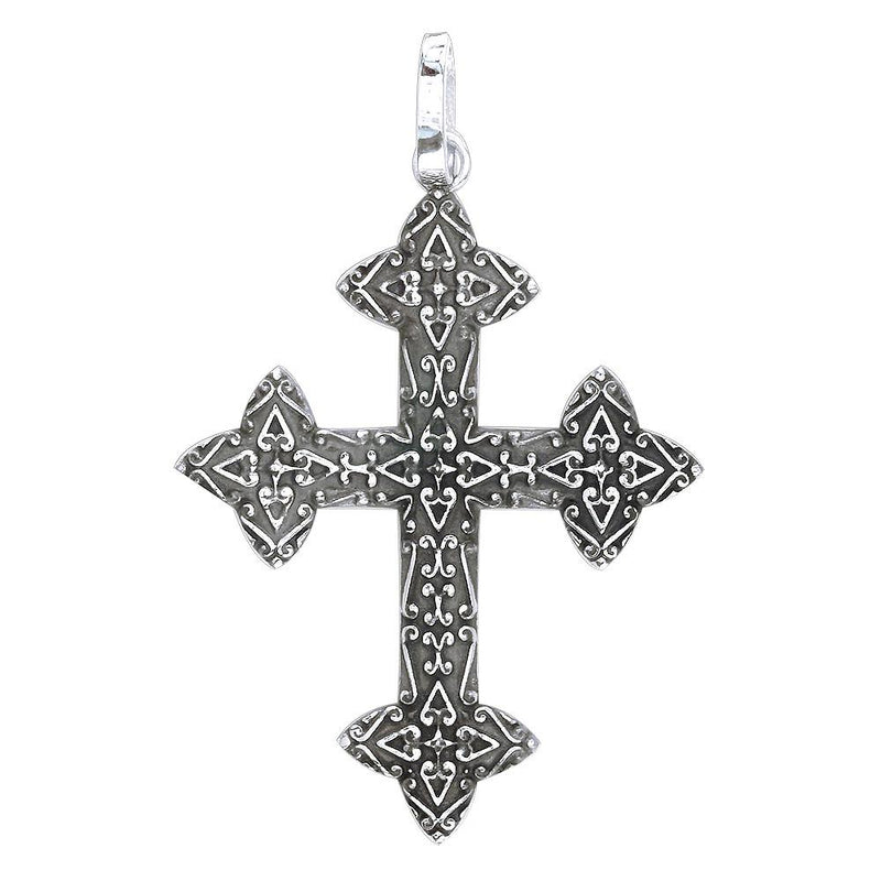 Extra Large Cross Charm with Black, 40mm with in Sterling Silver