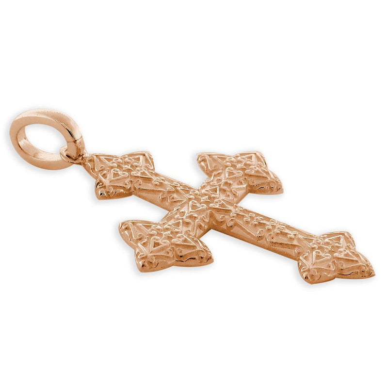 Extra Large Cross Charm, 40mm in 14K Pink, Rose Gold