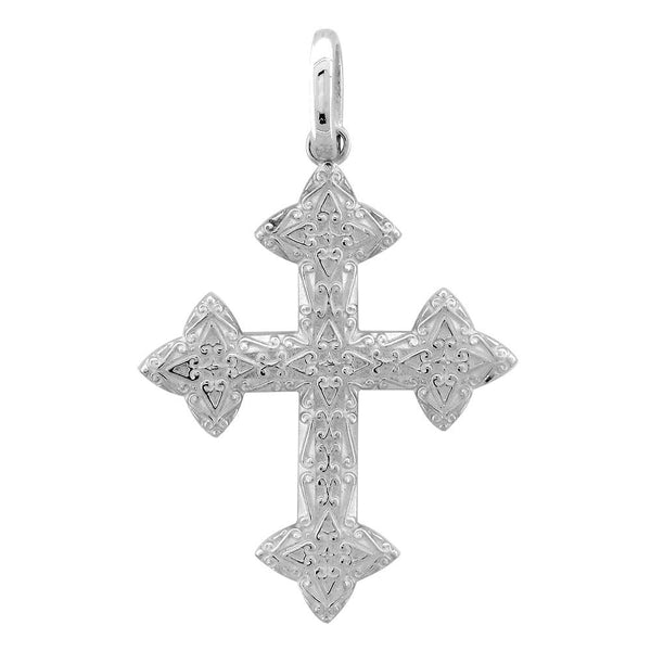 Extra Large Cross Charm, 40mm in 14K White Gold