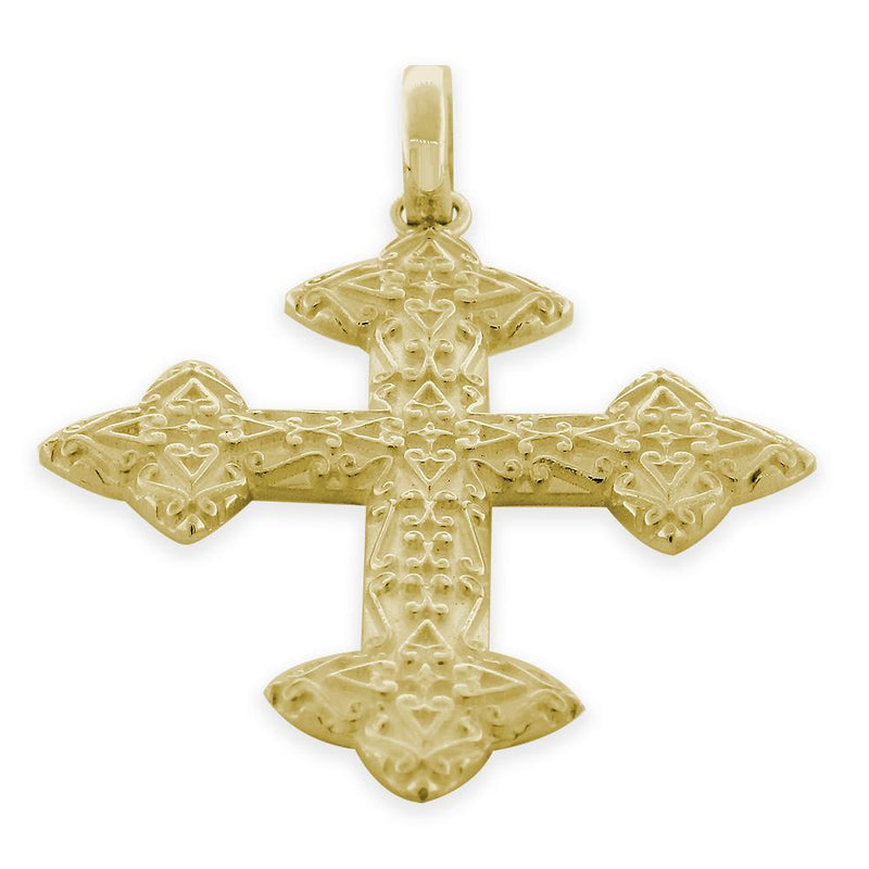 Extra Large Cross Charm, 40mm in 14K Yellow Gold