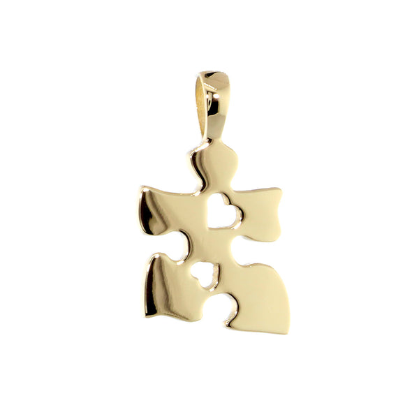 Small Autism Awareness Puzzle Piece Charm with 2 Open Hearts in 14K Yellow Gold, 15mm