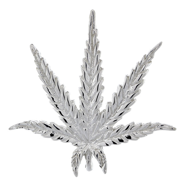 33mm Marijuana Pot Leaf Plant Charm in Sterling Silver