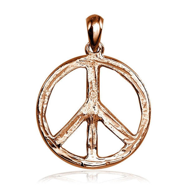 Carved Rough Design Peace Sign Charm in 14K Pink, Rose Gold