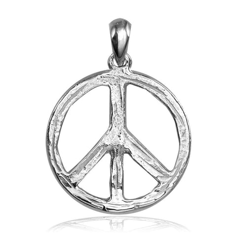 Carved Rough Design Peace Sign Charm in Sterling Silver