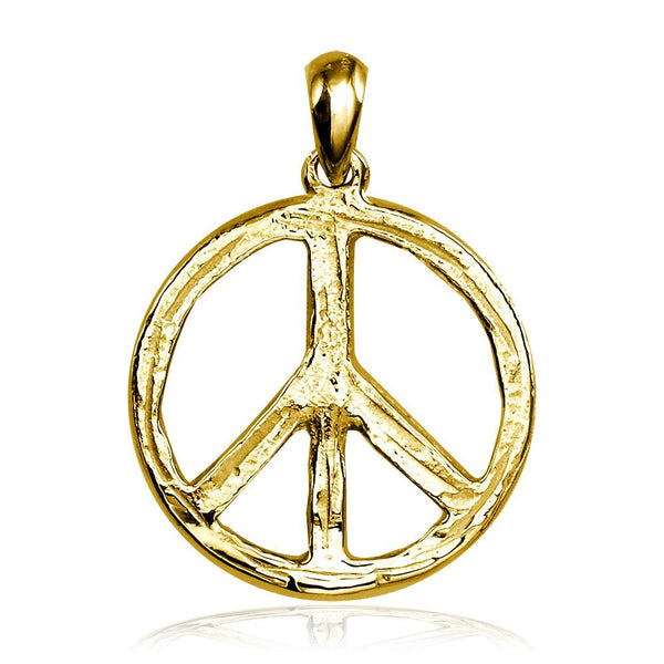Carved Rough Design Peace Sign Charm in 14K Yellow Gold