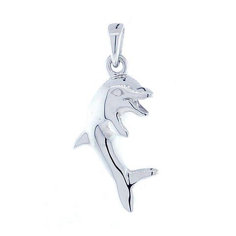 Jumping Dolphin Charm in 14K White Gold