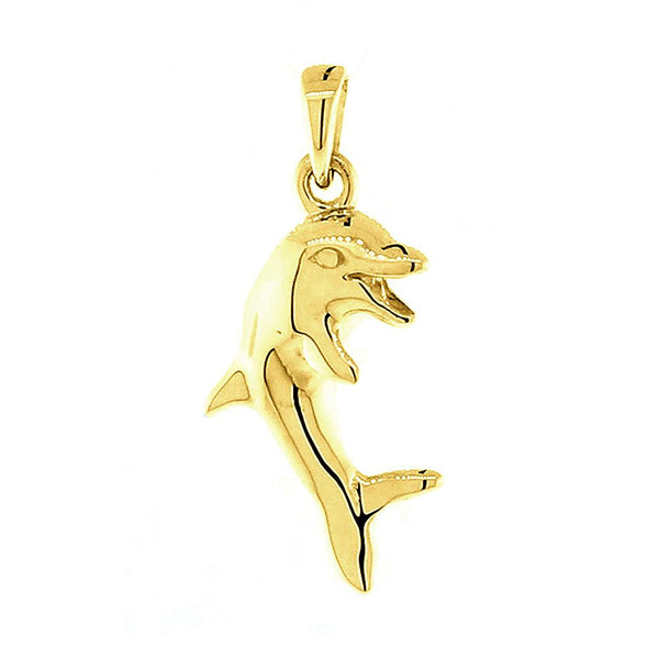Jumping Dolphin Charm in 14K Yellow Gold