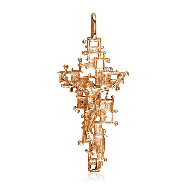 Crucifix Charm with Detailed Nails Mesh Cross, 40mm in 14K Pink, Rose Gold