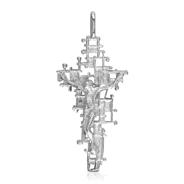 Crucifix Charm with Detailed Nails Mesh Cross, 40mm in 18K white gold