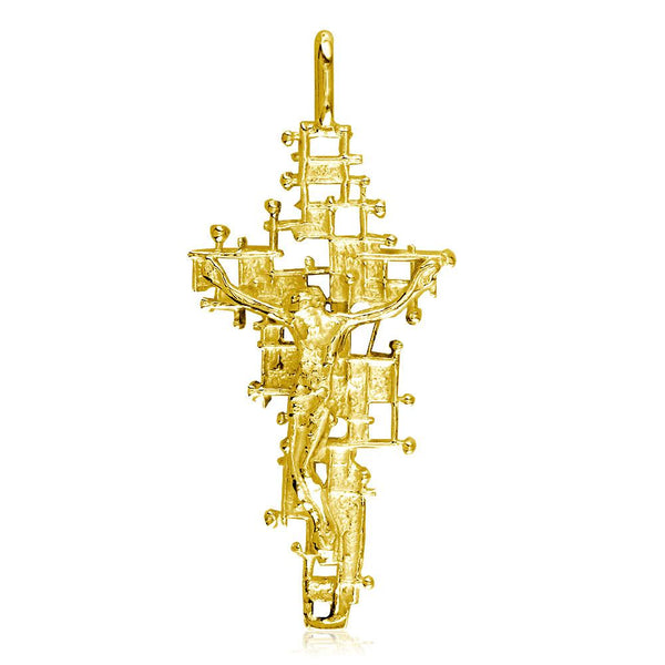 Crucifix Charm with Detailed Nails Mesh Cross, 40mm in 14K Yellow Gold