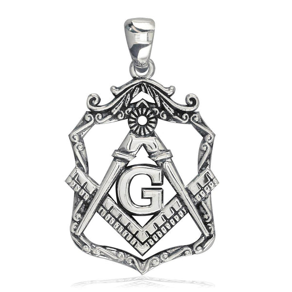 Large Open Masonic Initial G Charm in 18k White Gold