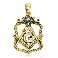 Large Open Masonic Initial G Charm in 14k Yellow Gold