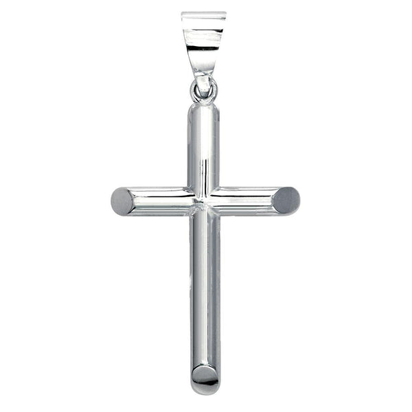 40mm Solid Barrel Cross Charm in 14K White Gold