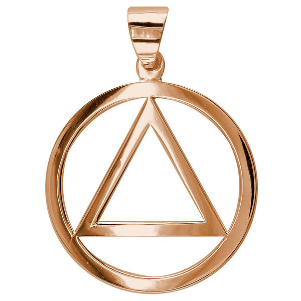 Large AA Sobriety Charm in 18K Pink, Rose Gold
