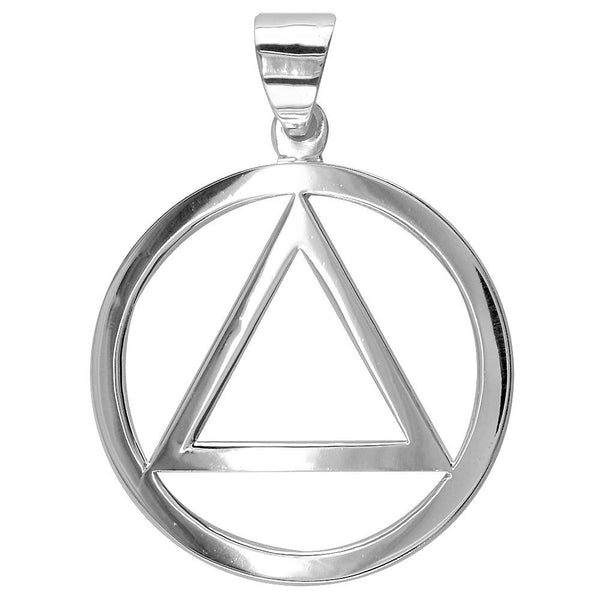 Large AA Sobriety Charm in Sterling Silver