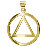 Large AA Sobriety Charm in 18K Yellow gold