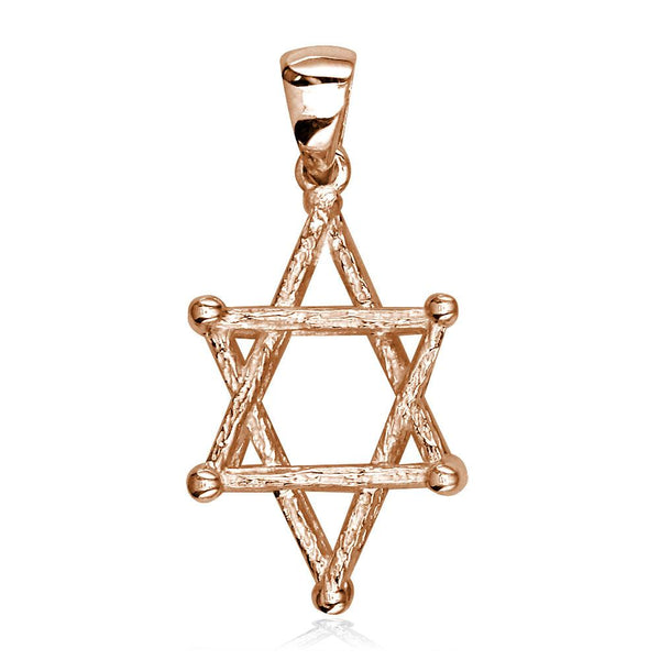 3D Star of David, Jewish Star Cage, Box Charm in 14K Pink, Rose Gold