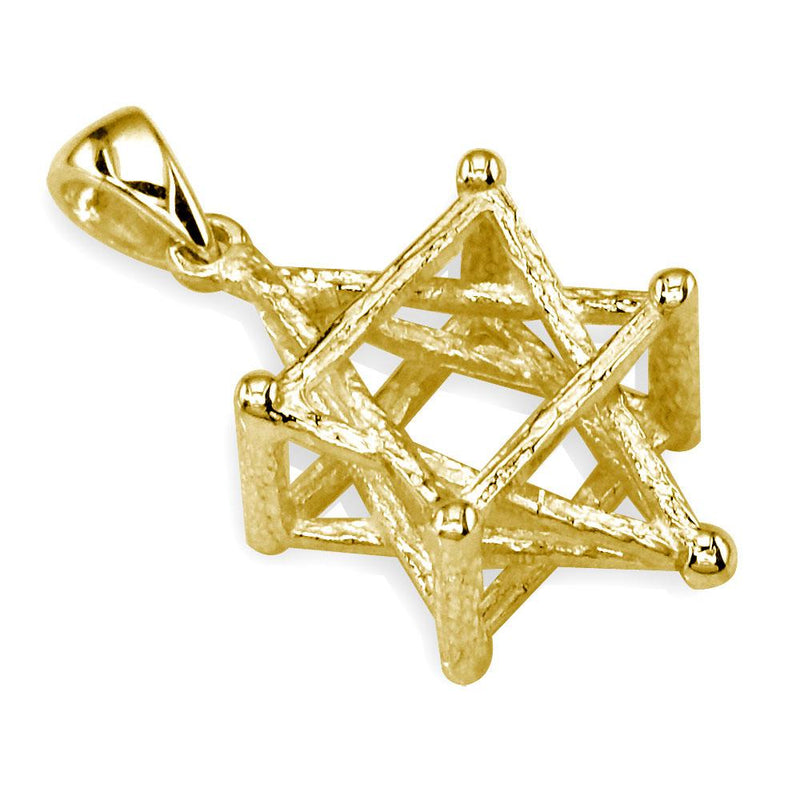 3D Star of David, Jewish Star Cage, Box Charm in 14K Yellow Gold