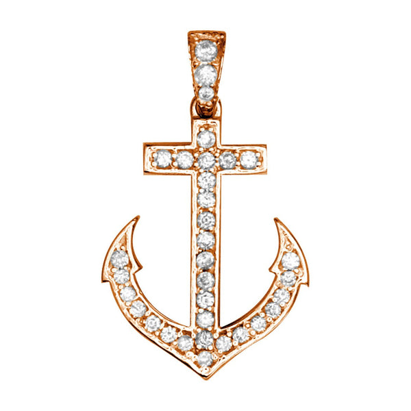 Small Diamond Anchor Charm in 14k Pink Gold