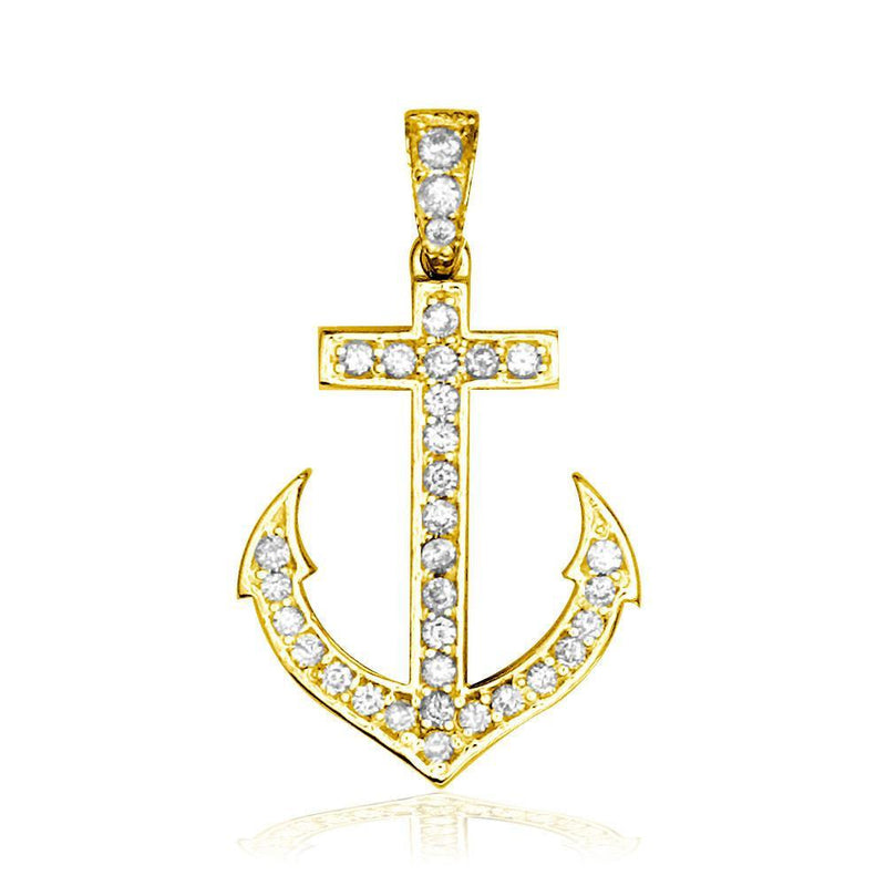 Small Diamond Anchor Charm in 14k Yellow Gold