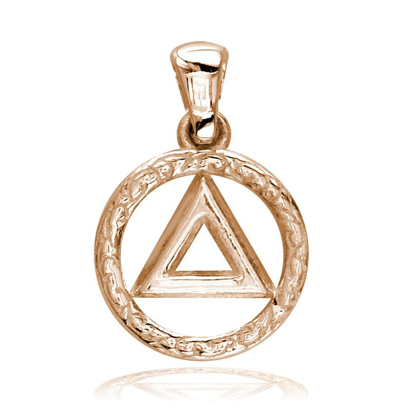Small AA Alcoholics Anonymous Sobriety Charm with Tribal Designs in 18K Pink, Rose Gold