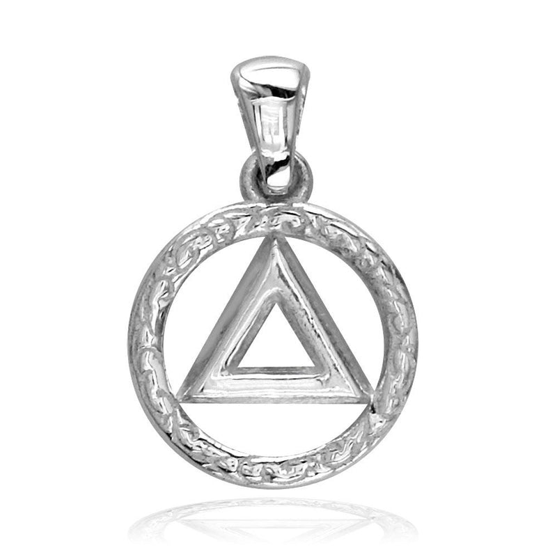 Small AA Alcoholics Anonymous Sobriety Charm with Tribal Designs in Sterling Silver
