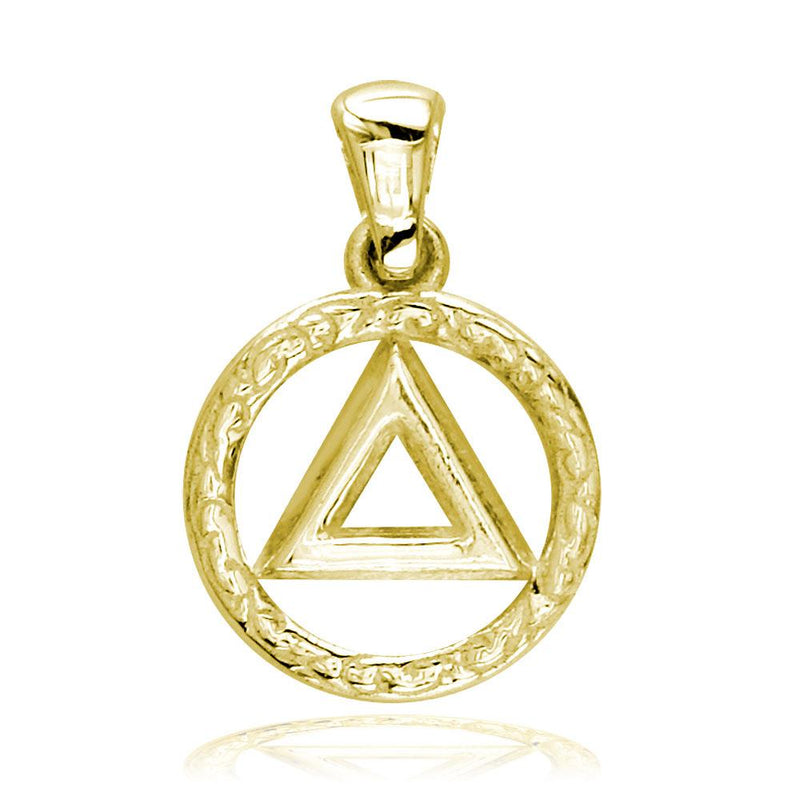 Small AA Alcoholics Anonymous Sobriety Charm with Tribal Designs in 18K Yellow gold