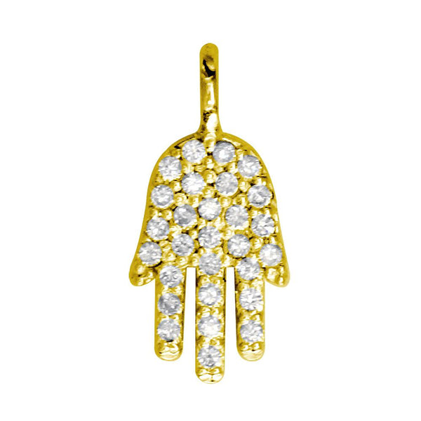 Mini Diamond Hamsa, Hand of God Charm, 0.15CT in 14K Yellow Gold