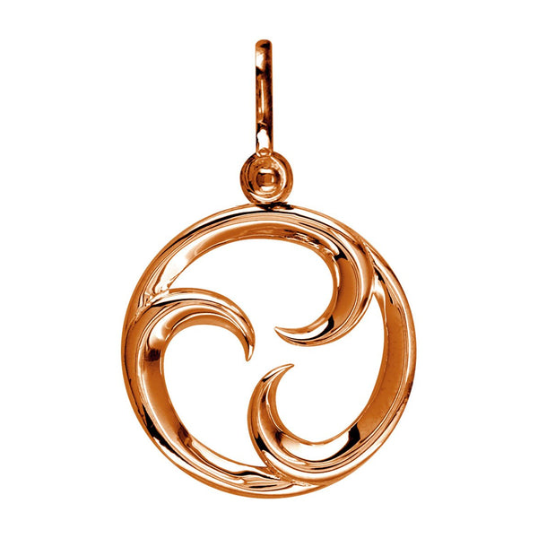 Small Circle Maori Tri Koru New Beginnings Charm with Three Curls in 14k Pink Gold