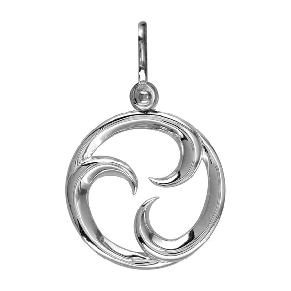 Small Circle Maori Tri Koru New Beginnings Charm with Three Curls in 14k White Gold