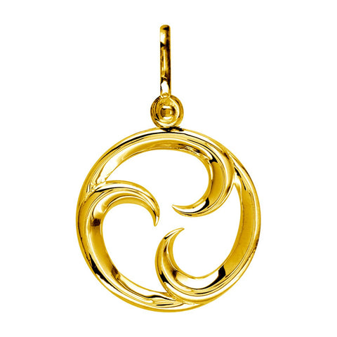 Small Circle Maori Tri Koru New Beginnings Charm with Three Curls in 14k Yellow Gold