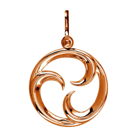 Medium Circle Maori Tri Koru New Beginnings Charm with Three Curls in 14k Pink Gold