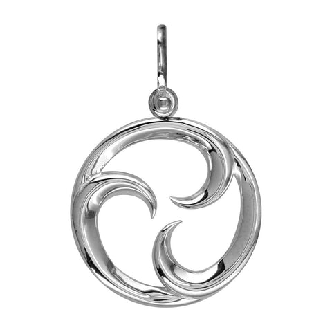 Medium Circle Maori Tri Koru New Beginnings Charm with Three Curls in 14k White Gold