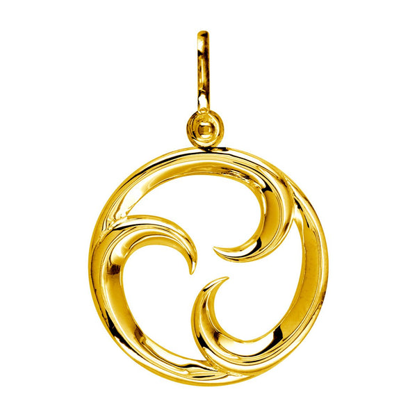Medium Circle Maori Tri Koru New Beginnings Charm with Three Curls in 14k Yellow Gold