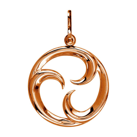 Large Circle Maori Tri Koru New Beginnings Charm with Three Curls in 14k Pink Gold
