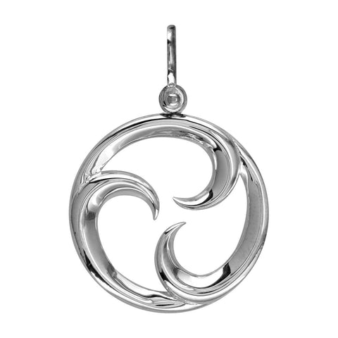 Large Circle Maori Tri Koru New Beginnings Charm with Three Curls in Sterling Silver