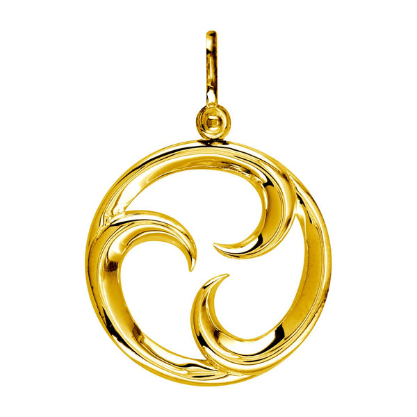 Large Circle Maori Tri Koru New Beginnings Charm with Three Curls in 14k Yellow Gold