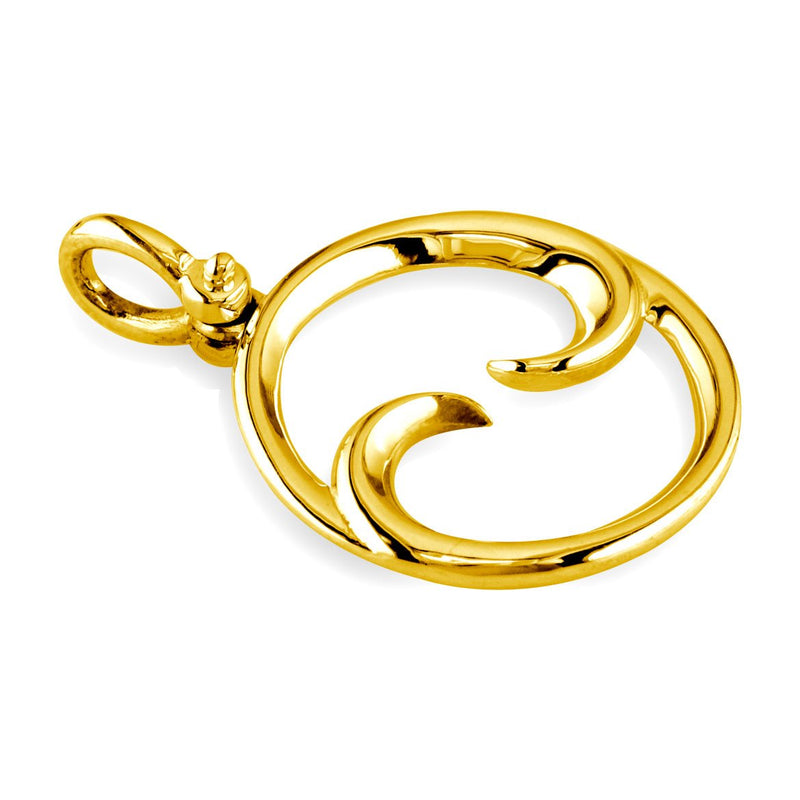Small Circle Maori Koru New Beginnings Charm with Two Curls in 18k Yellow Gold