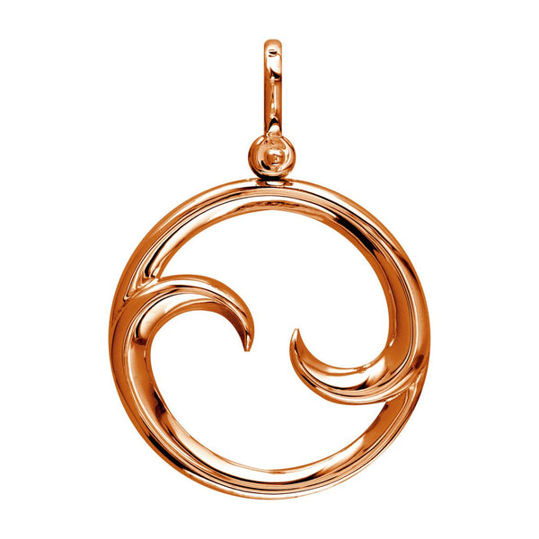 Large Circle Maori Koru New Beginnings Charm with Two Curls in 14k Pink Gold