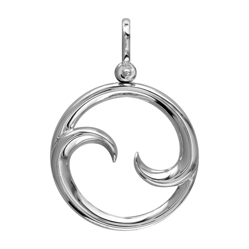 Large Circle Maori Koru New Beginnings Charm with Two Curls in 14k White Gold