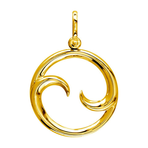 Large Circle Maori Koru New Beginnings Charm with Two Curls in 14k Yellow Gold