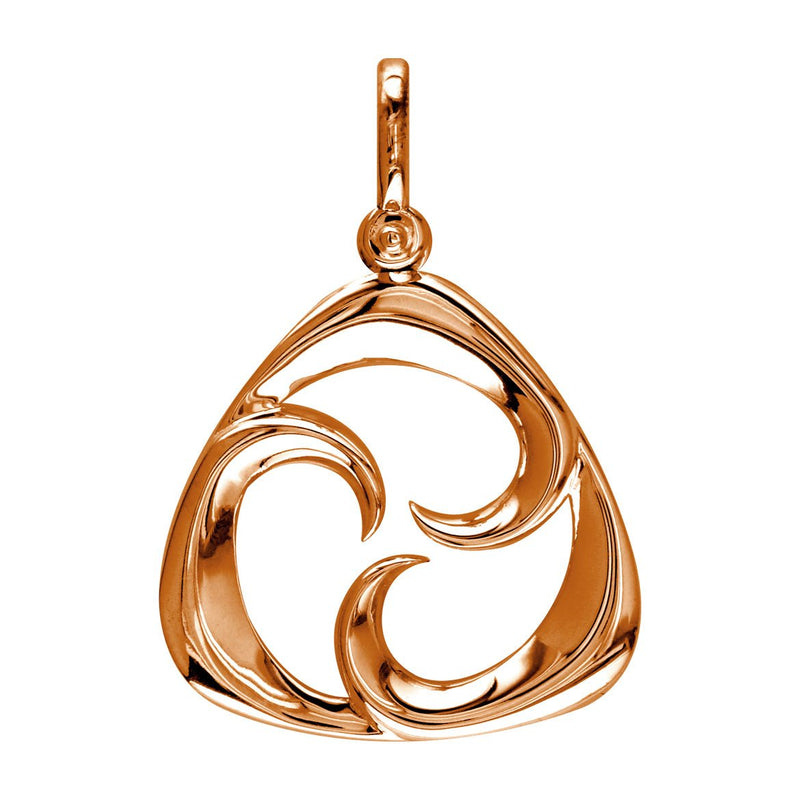 Small Triangle Shape Maori Tri Koru New Beginnings Charm with Three Curls in 14k Pink Gold