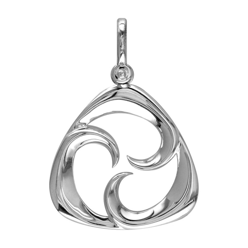 Small Triangle Shape Maori Tri Koru New Beginnings Charm with Three Curls in 14k White Gold