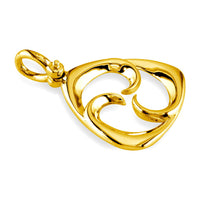 Small Triangle Shape Maori Tri Koru New Beginnings Charm with Three Curls in 18k Yellow Gold