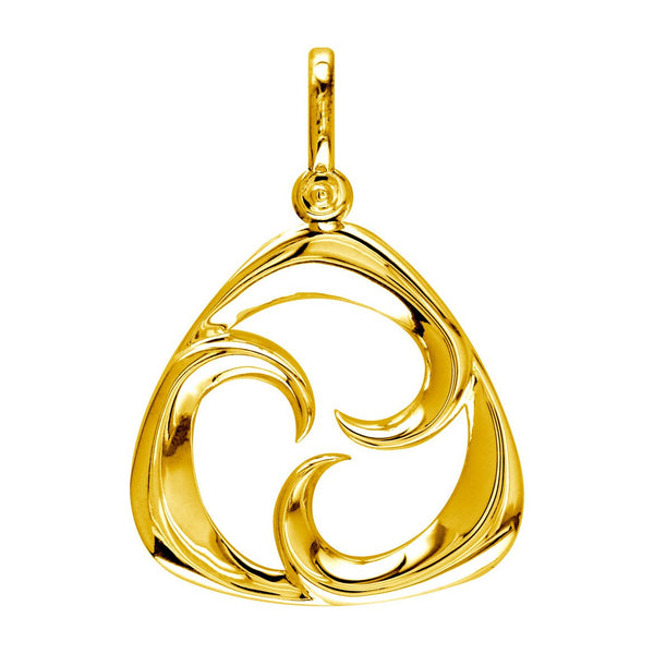 Large Triangle Shape Maori Tri Koru New Beginnings Charm with Three Curls in 14k Yellow Gold