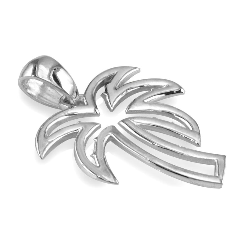 Medium Open Contemporary Palm Tree Charm in 14k White Gold