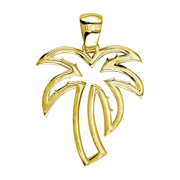 Medium Open Contemporary Palm Tree Charm in 18k Yellow Gold