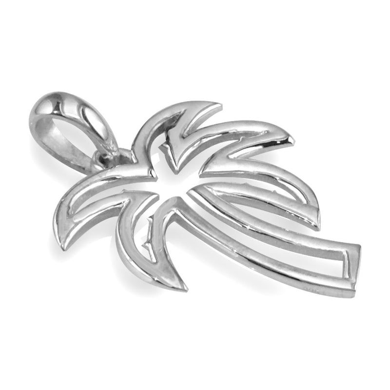Small Open Contemporary Palm Tree Charm in 14k White Gold