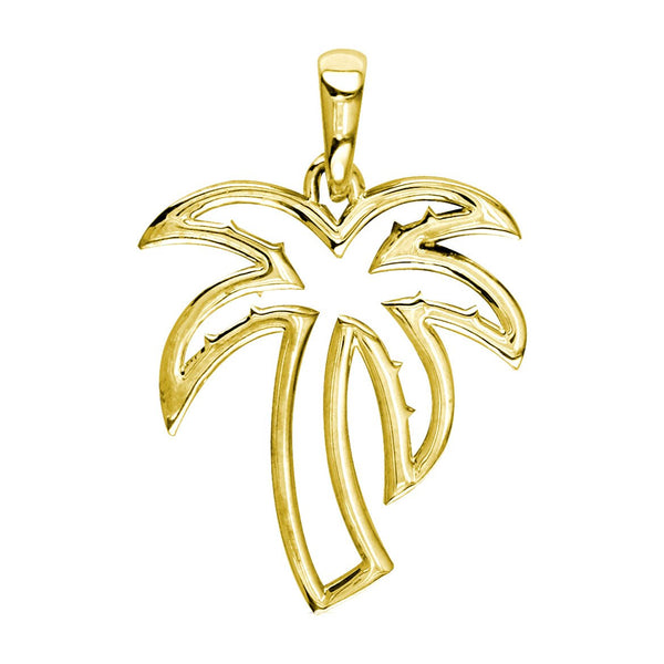Small Open Contemporary Palm Tree Charm in 14k Yellow Gold